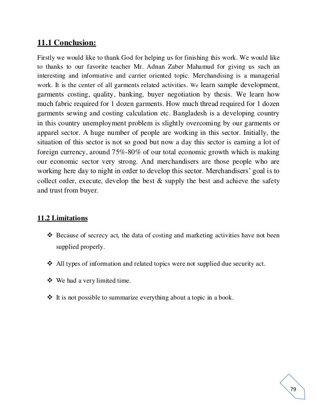 study on knit garments merchandising 78 chapter 11 conclusion 80