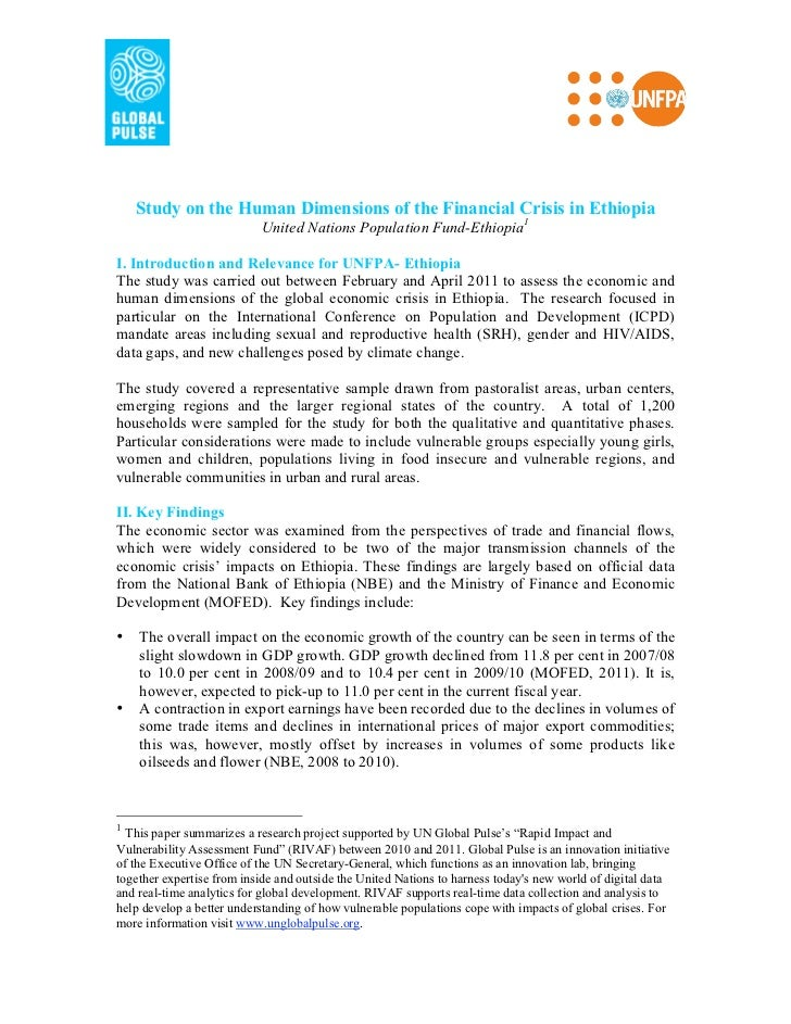 Study on the Human Dimensions of the Financial Crisis in Ethiopia                           United Nations Population Fund...