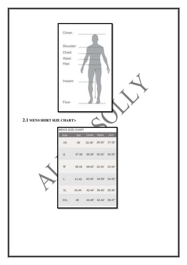 Size Chart Of Allen Solly