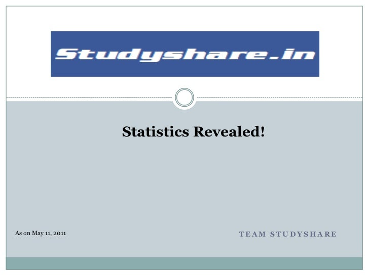 Statistics Revealed!As on May 11, 2011                   TEAM STUDYSHARE