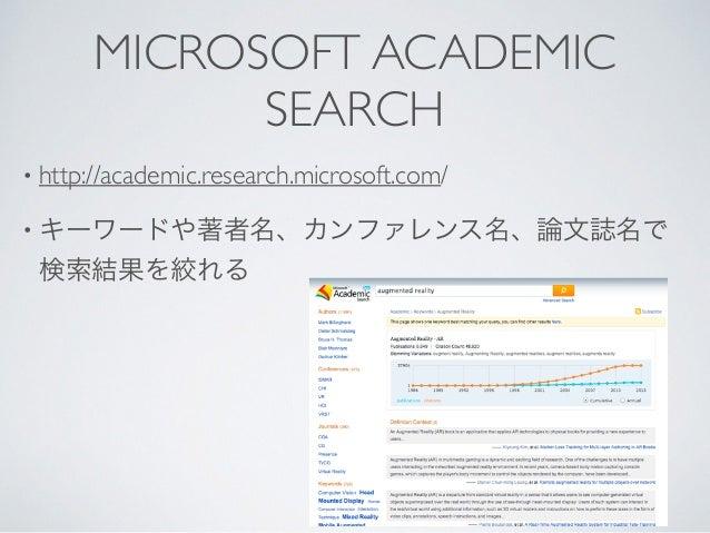 MICROSOFT ACADEMIC SEARCH • http://academic.research.microsoft.com/  • キーワードや著者名、カンファレンス名、論文誌名で 検索結果を絞れる