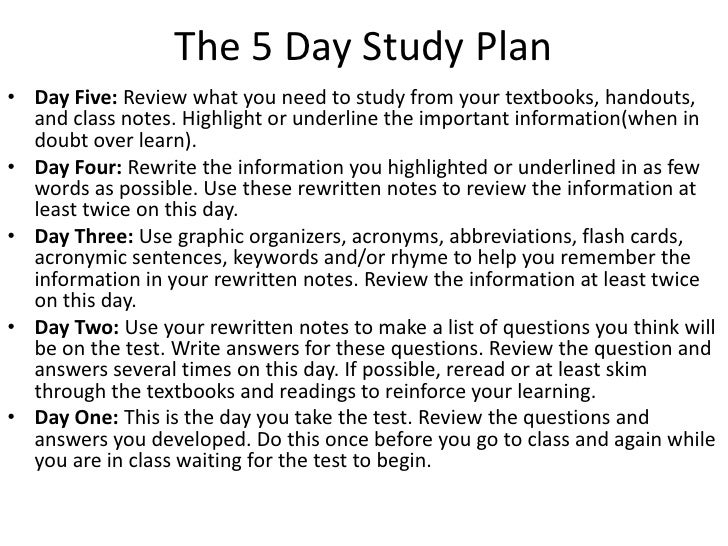 Study Skills and Test Taking Tips