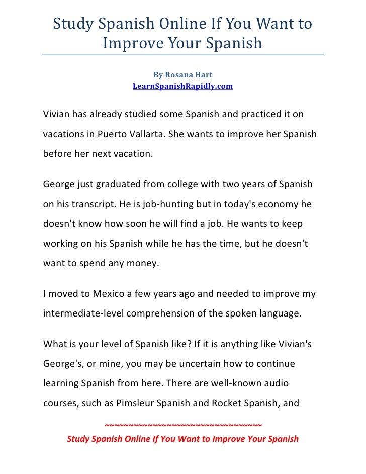 StudySpanishOnlineIfYouWantto            ImproveYourSpanish                            ByRosanaHart          ...