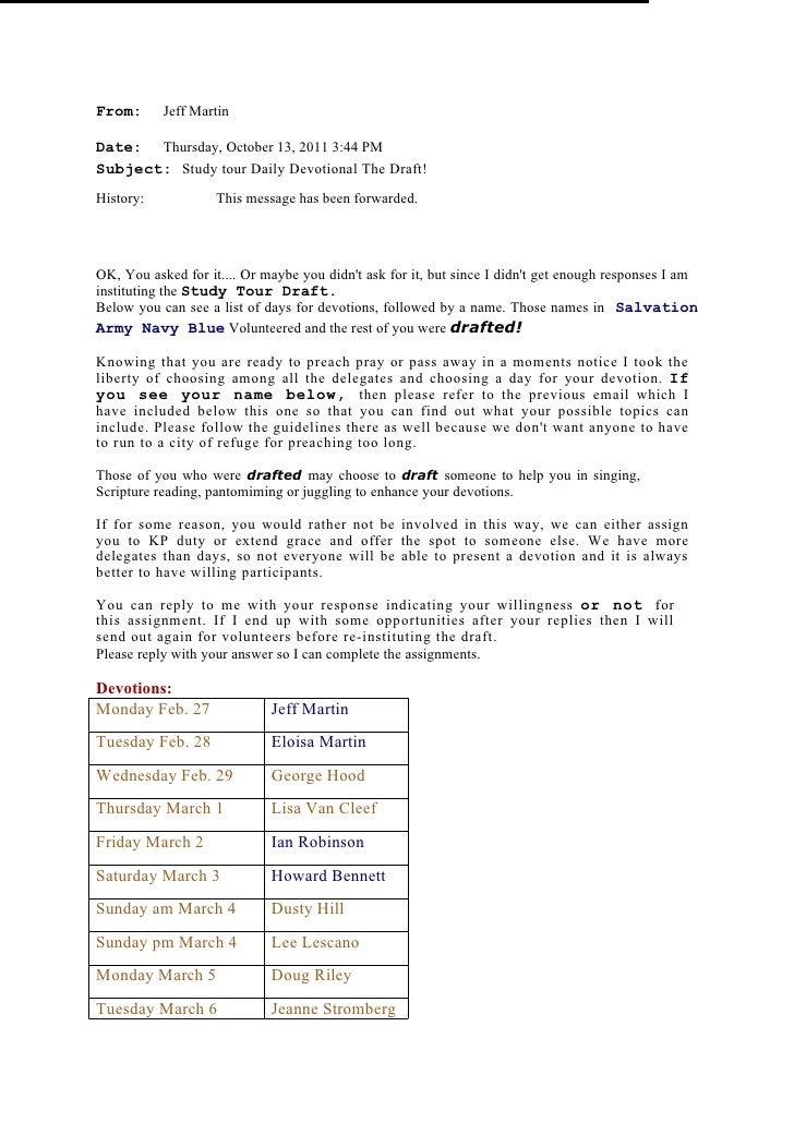 Study tour daily devotional  the draft!
