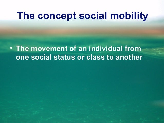 The concept social mobility • The movement of an individual from one social status or class to another