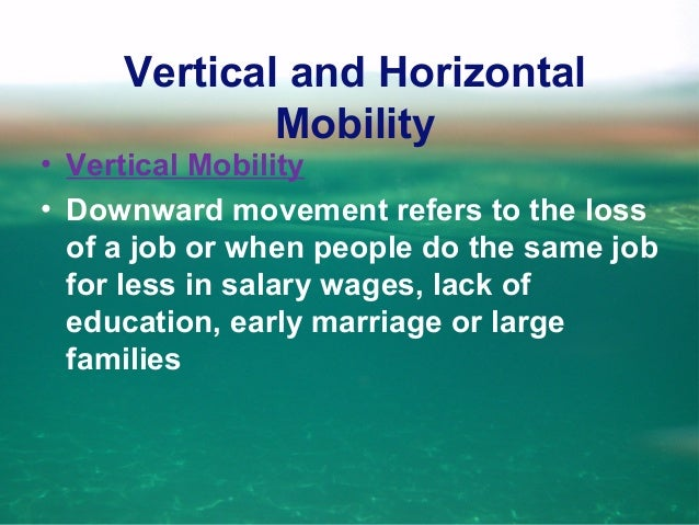 • Vertical Mobility thus implies a change of social status!!!
