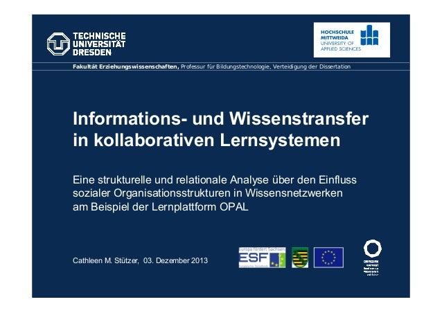 Informations- und Wissenstransfer in kollaborativen Lernsystemen Eine strukturelle und relationale Analyse über den Einflu...