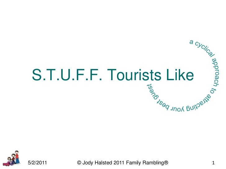 a cyclical approach to attracting your best guest<br />S.T.U.F.F. Tourists Like<br />5/2/2011<br />© Jody Halsted 2011 Fam...