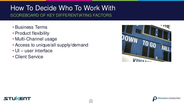 SCOREBOARD OF KEY DIFFERENTIATING FACTORS How To Decide Who To Work With • Business Terms • Product flexibility • Multi-Ch...