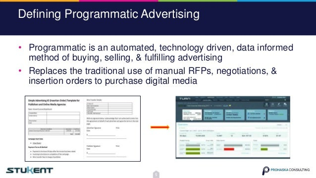 Defining Programmatic Advertising • Programmatic is an automated, technology driven, data informed method of buying, selli...