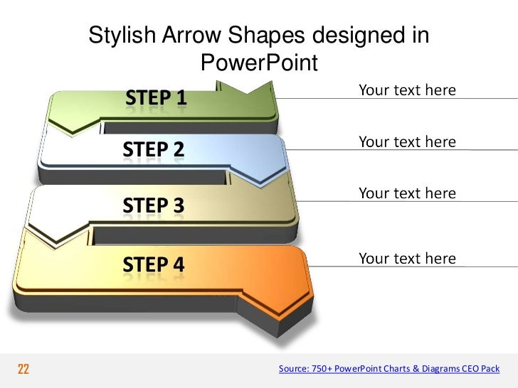 Stylish Arrow Shapes designed in                 PowerPoint22                    Source: 750+ PowerPoint Charts & Diagrams...