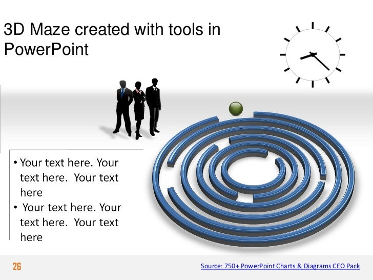 3D Maze created with tools inPowerPoint 26                       Source: 750+ PowerPoint Charts & Diagrams CEO Pack