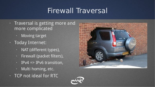 Firewall Traversal · Traversal is getting more and more complicated · Moving target · Today Internet: · NAT (different typ...