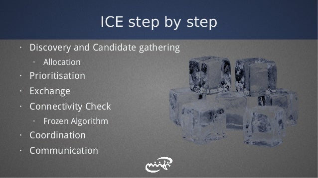 ICE step by step · Discovery and Candidate gathering · Allocation · Prioritisation · Exchange · Connectivity Check · Froze...