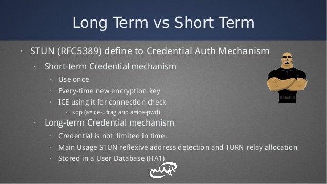 Long Term vs Short Term · STUN (RFC5389) define to Credential Auth Mechanism · Short-term Credential mechanism · Use once ...