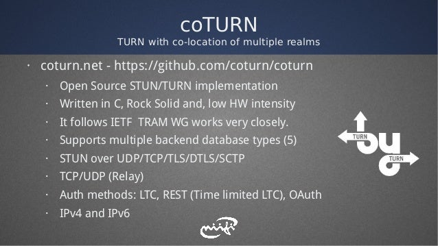 coTURN TURN with co-location of multiple realms · coturn.net - https://github.com/coturn/coturn · Open Source STUN/TURN im...
