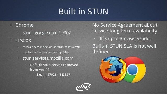 Built in STUN · Chrome · stun.l.google.com:19302 · Firefox · media.peerconnection.default_iceservers;[] · media.peerconnec...