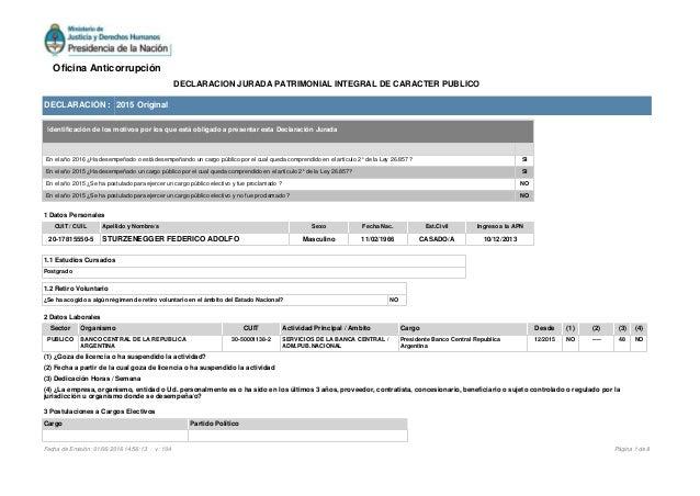 DECLARACIÓN : 2015 Original 1 Datos Personales CUIT / CUIL Apellido y Nombre/s Sexo Fecha Nac. Est.Civil Ingreso a la APN ...