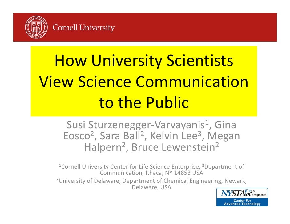 HowUniversityScientists ViewScienceCommunication         tothePublic      SusiSturzenegger‐Varvayanis1,Gina     ...