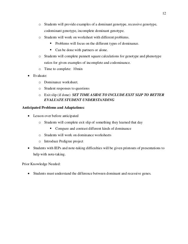 Student Teaching Work Sample – Genotype and Phenotype Worksheet