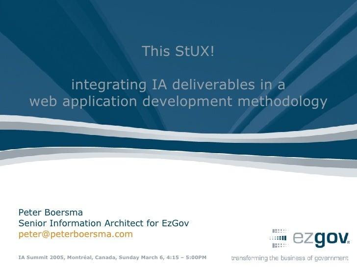 Peter Boersma Senior Information Architect for EzGov [email_address]   IA Summit 2005, Montréal, Canada, Sunday March 6, 4...