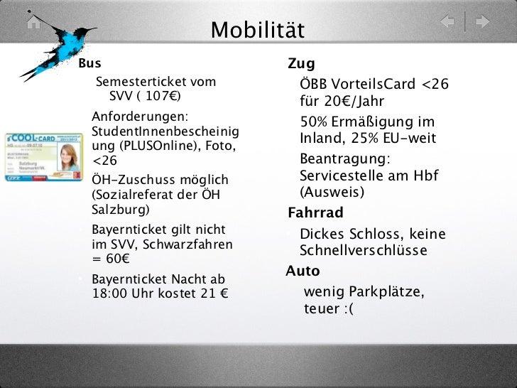 MobilitätBus                         Zug  Semesterticket vom        • ÖBB VorteilsCard <26    SVV ( 107€)               fü...