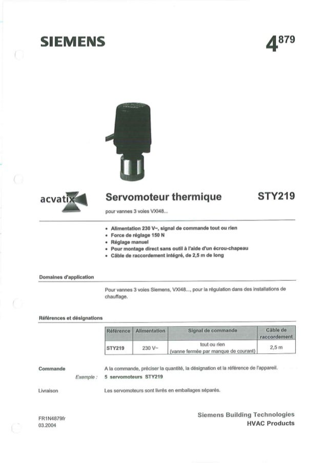STY219 servomoteur thermique_pour_vanne_vxi48_notice