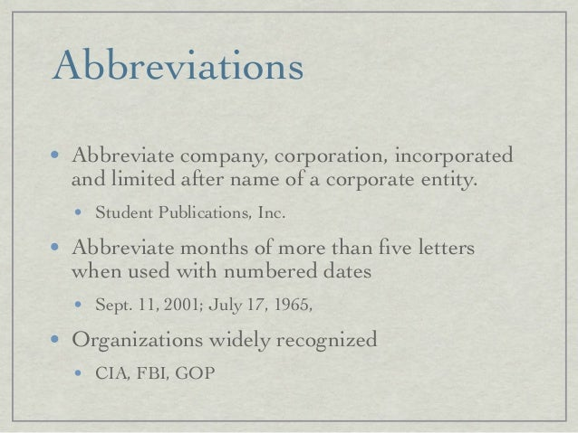 Abbreviations O Abbreviate Company Corporation Incorporated And Limited After Name