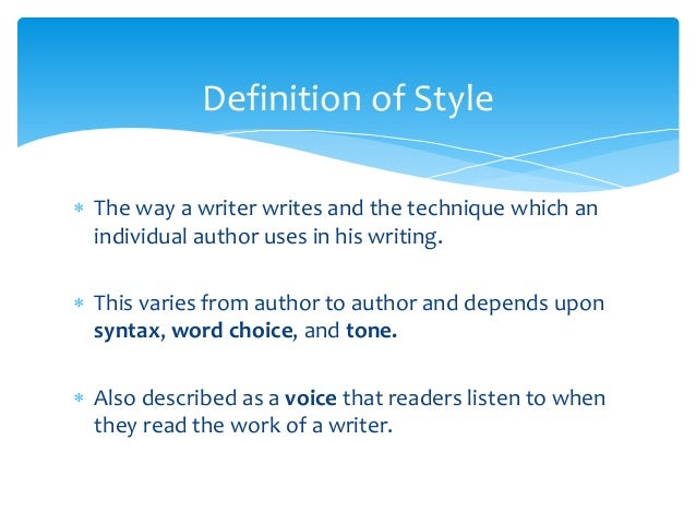 Style and form in English Literature.