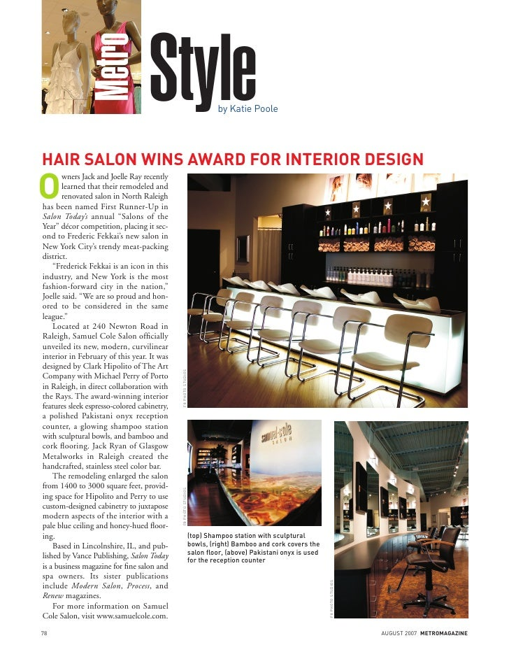 Metro                                    Style                                 by Katie Poole     HAIR SALON WINS AWARD FO...
