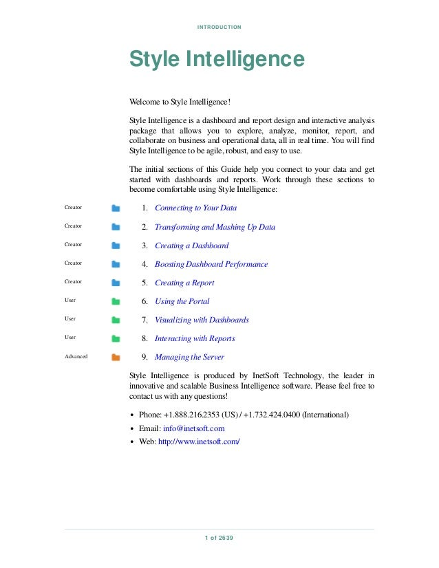 INTRODUCTION 1 of 2639 Style Intelligence Welcome to Style Intelligence! Style Intelligence is a dashboard and report desi...