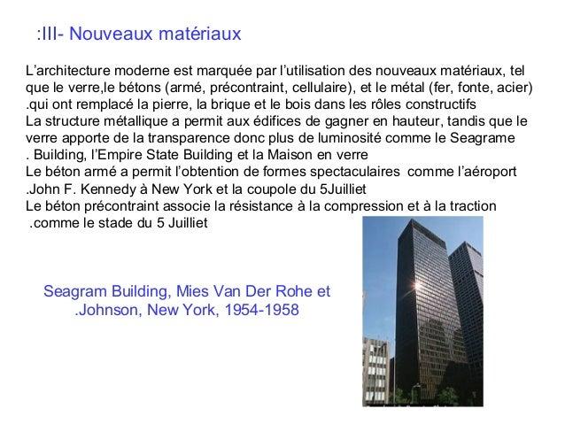 :III- Nouveaux matériaux L'architecture moderne est marquée par l'utilisation des nouveaux matériaux, tel que le verre,le ...