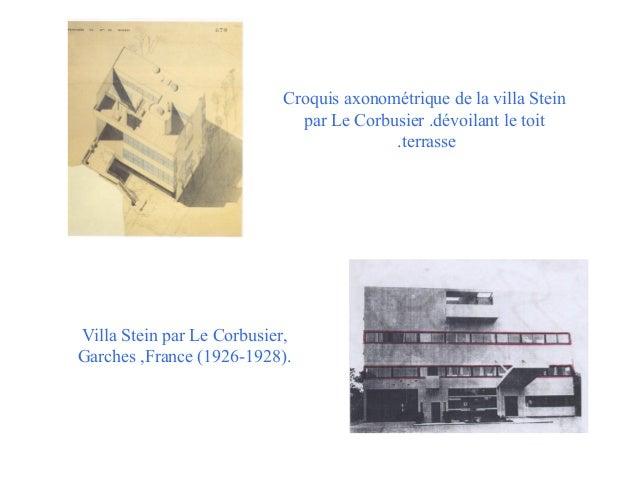 Croquis axonométrique de la villa Stein par Le Corbusier .dévoilant le toit .terrasse  Villa Stein par Le Corbusier, Garch...