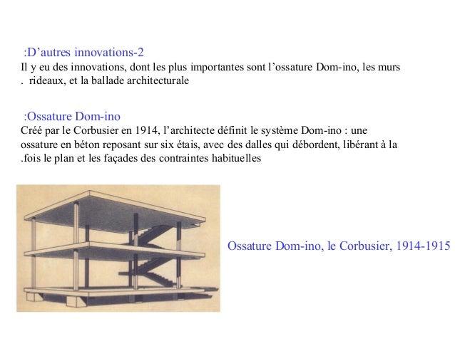 :D'autres innovations-2 Il y eu des innovations, dont les plus importantes sont l'ossature Dom-ino, les murs . rideaux, et...