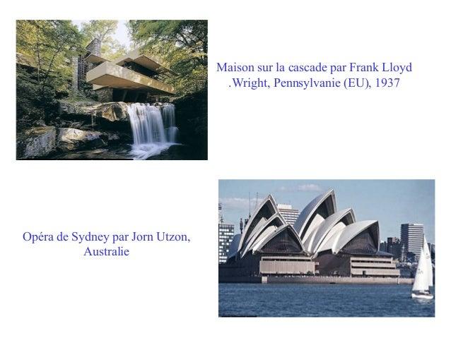 Maison sur la cascade par Frank Lloyd .Wright, Pennsylvanie (EU), 1937  Opéra de Sydney par Jorn Utzon, Australie