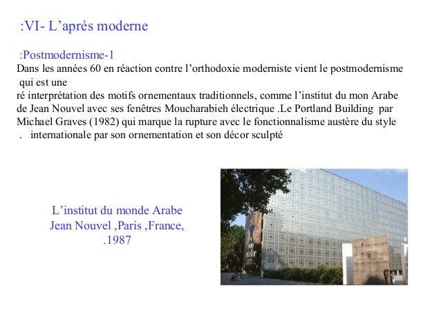 :VI- L'après moderne :Postmodernisme-1 Dans les années 60 en réaction contre l'orthodoxie moderniste vient le postmodernis...