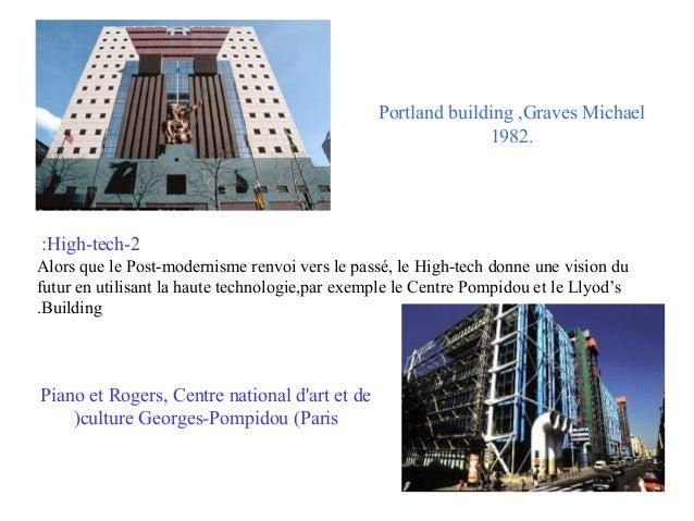 Portland building ,Graves Michael 1982.  :High-tech-2 Alors que le Post-modernisme renvoi vers le passé, le High-tech donn...