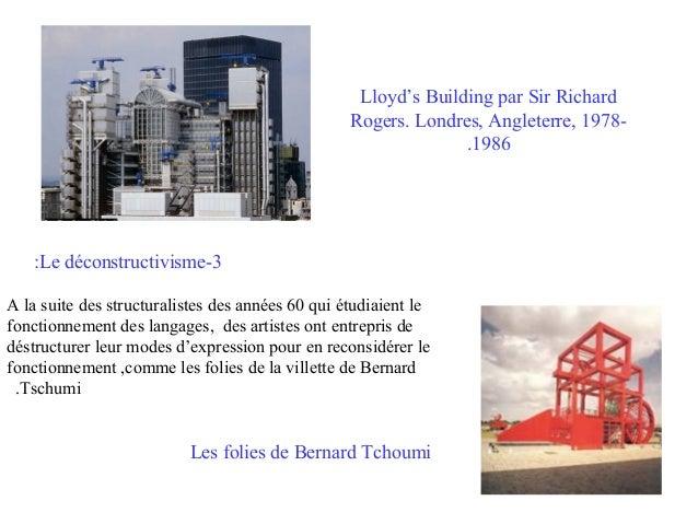 Lloyd's Building par Sir Richard Rogers. Londres, Angleterre, 1978.1986  :Le déconstructivisme-3 A la suite des structural...