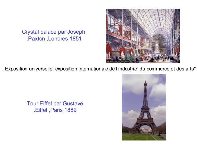 Crystal palace par Joseph .Paxton ,Londres 1851  . Exposition universelle: exposition internationale de l'industrie ,du co...