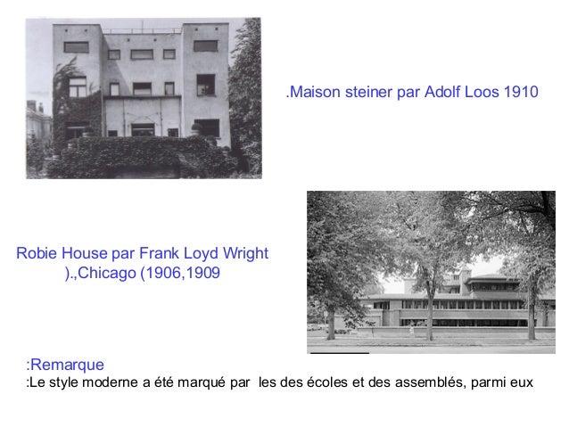 .Maison steiner par Adolf Loos 1910  Robie House par Frank Loyd Wright ).,Chicago (1906,1909  :Remarque :Le style moderne ...