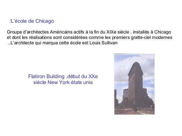 :L'école de Chicago Groupe d'architectes Américains actifs à la fin du XIXe siècle , installés à Chicago et dont les réali...