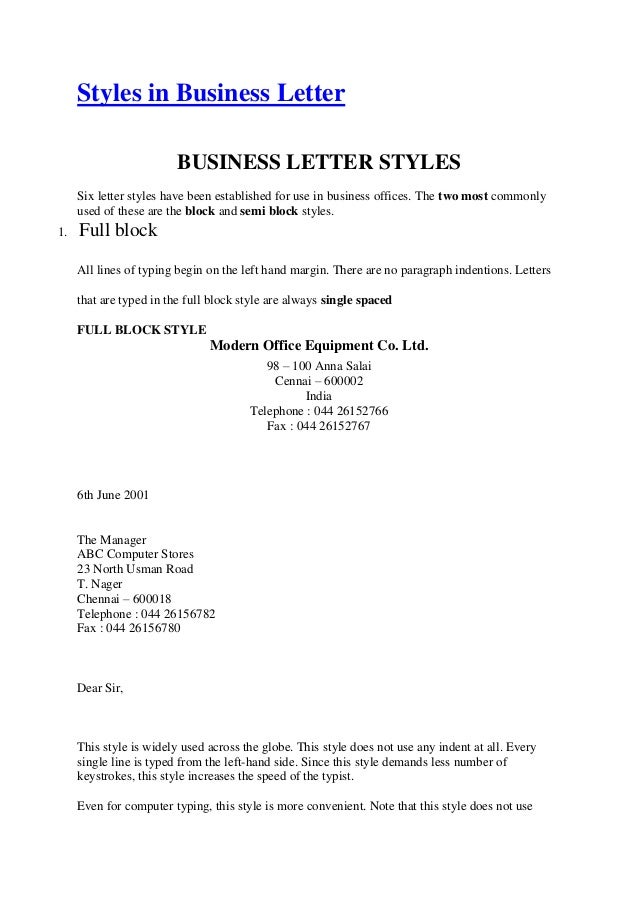 styles in business letterbusiness letter stylessix letter styles have been established for use in business offices