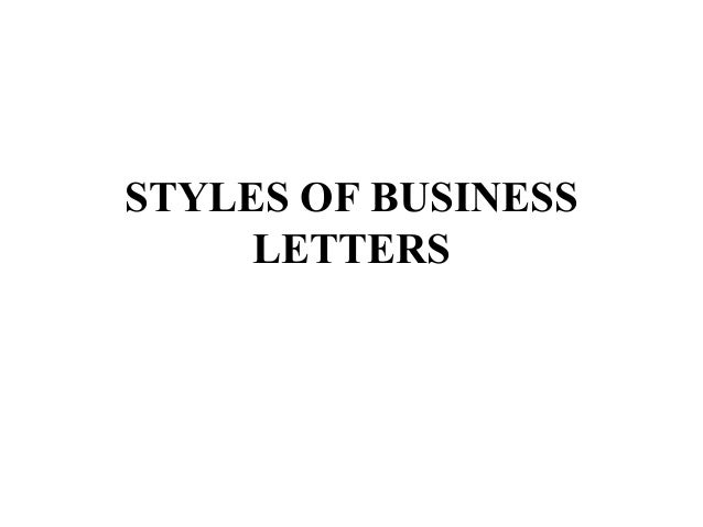 Styles Of Business Letters