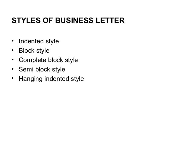 styles of business letter