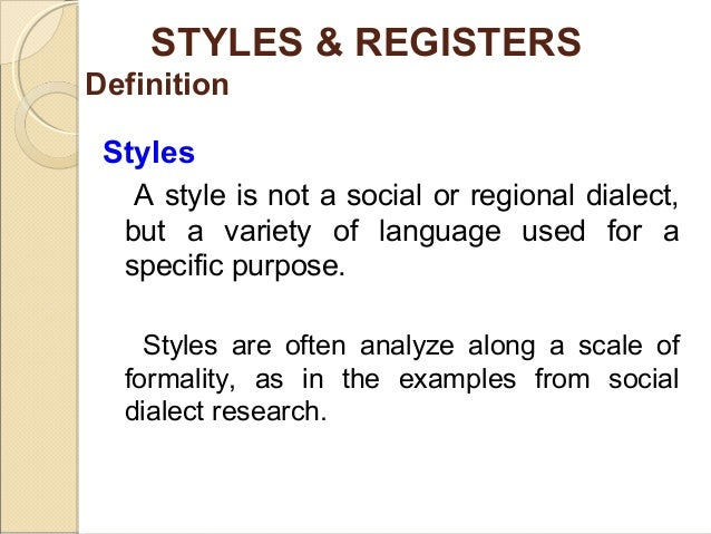 comparison between style and register This difference in the styles of writing is the difference between formality and informality, or the difference between formal and informal writing following is a list of some of the main differences between informal and formal writing.
