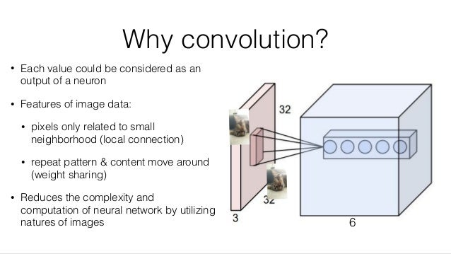 Why convolution? • Each value could be considered as an output of a neuron • Features of image data: • pixels only related...