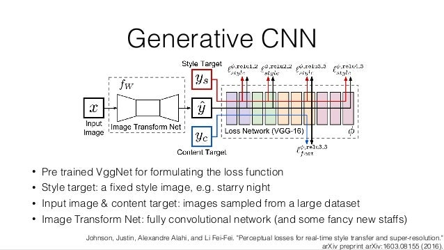 Generative CNN • Pre trained VggNet for formulating the loss function • Style target: a fixed style image, e.g. starry nigh...