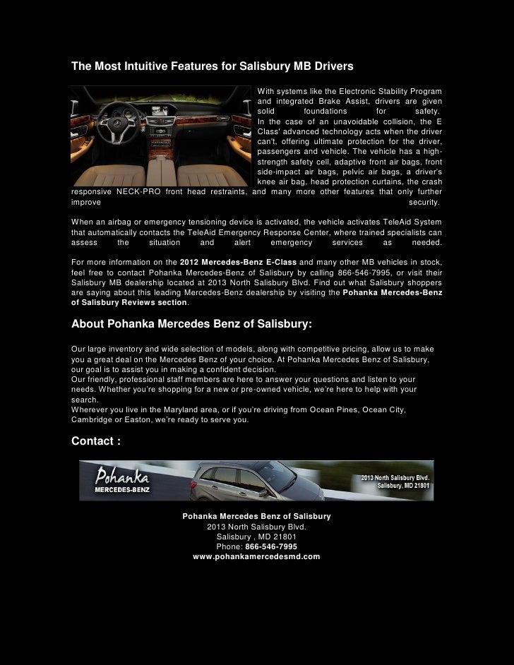 Stylish 2012 Mercedes Benz E Class Thrills Salisbury MB ...