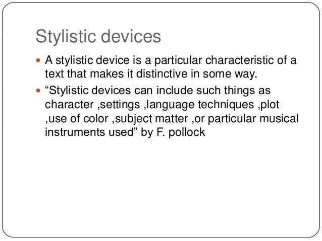 stylistic devices