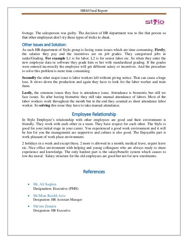 Stylo Human Resource Management - 2018 - Final Project